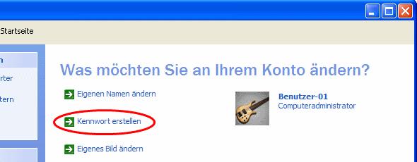 Windows XP Administrator Kennwort erstellen