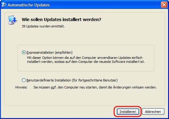 Windows XP Automatische Updates Expressinstallation