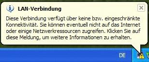 Windows XP Bubble eingeschränkte Konnektivität
