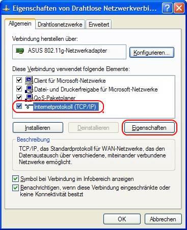 Windows XP Eigenschaften von Drahtlose Netzwerkverbindung
