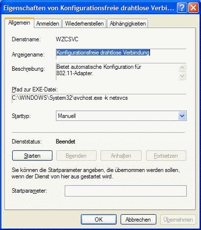 Windows XP Eigenschaften WZCSVC