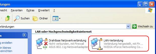 Windows XP Netzwerkverbindungen LAN