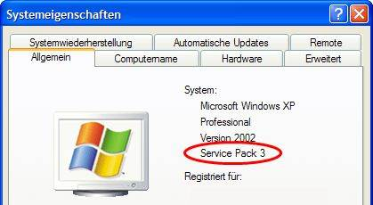 Windows XP Systemeigenschaften