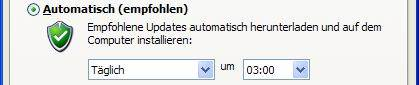 Windows XP automatische Updates Option 1 Automatisch