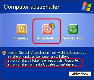 Windows XP Updates beim Herunterfahren installieren