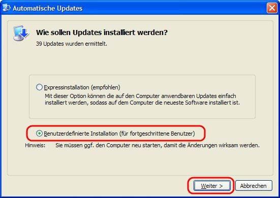 Windows XP Automatische Updates Benutzerdefinierte Installation