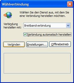 Windows XP Wählverbindung automatisch herstellen
