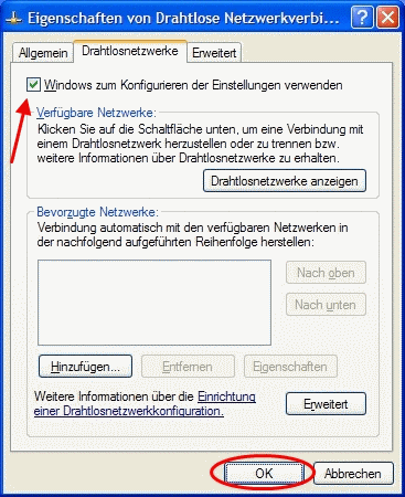 Windows XP WLAN-Konfiguration einschalten