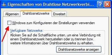 Windows XP WLAN Konfiguration aus