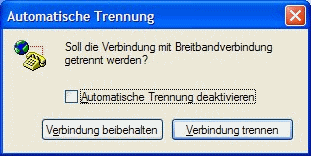 Windows XP automatische Trennung