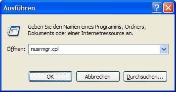 Windows XP Benutzerkonten aufrufen