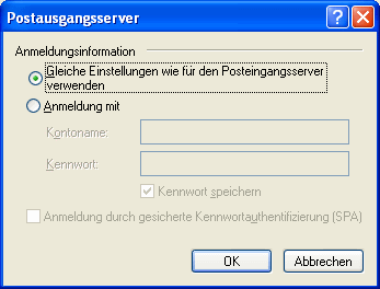 Outlook Express Anmeldungsinformationen Postausgangsserver