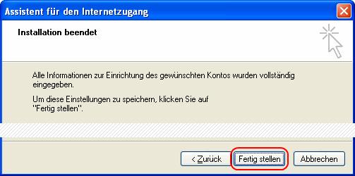 Outlook Express E-Mail-Konto einrichten > Installation beendet