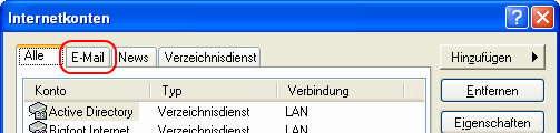 Outlook Express E-Mail-Kontoeinstellungen > E-Mail