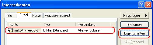 Outlook Express E-Mail-Kontoeinstellungen > Eigenschaften