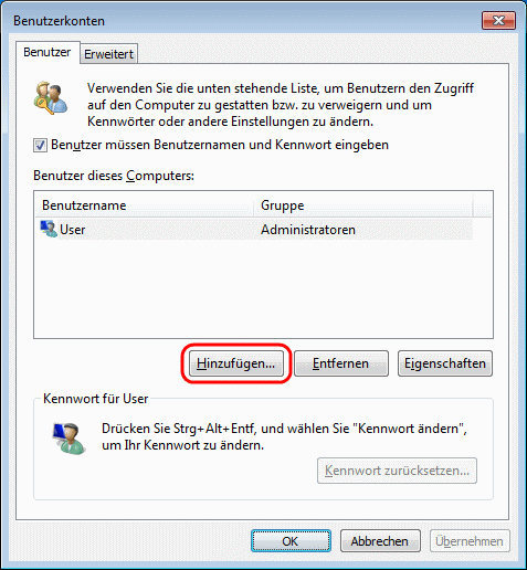 Windows 7 Benutzerkonten