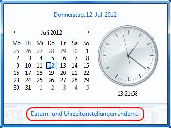 Windows 7 Datum und Uhrzeiteinstellungen ändern