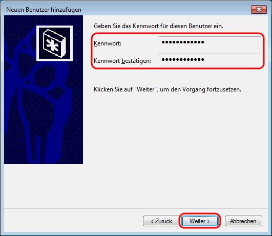 Windows 7 Kennwort für neuen Benutzer vergeben