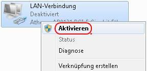 Windows 7 LAN-Verbindung aktivieren