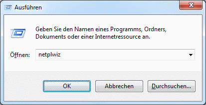 Windows 7 Benutzerkonten aufrufen