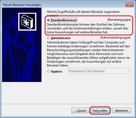 Windows 7 Standardbenutzer anlegen