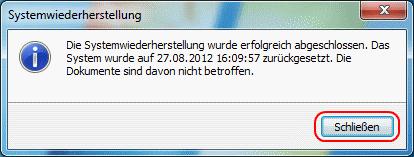 Windows 7 Systemwiederherstellung abgeschlossen