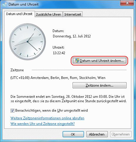 Windows 7 Datum und Uhrzeit ändern