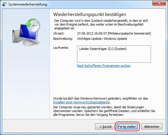 Windows 7 Wiederherstellungspunkt bestätigen