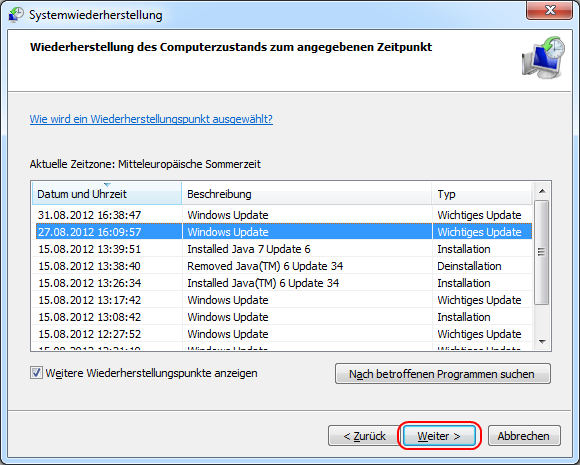 Windows 7 Einen Wiederherstellungspunkt wählen
