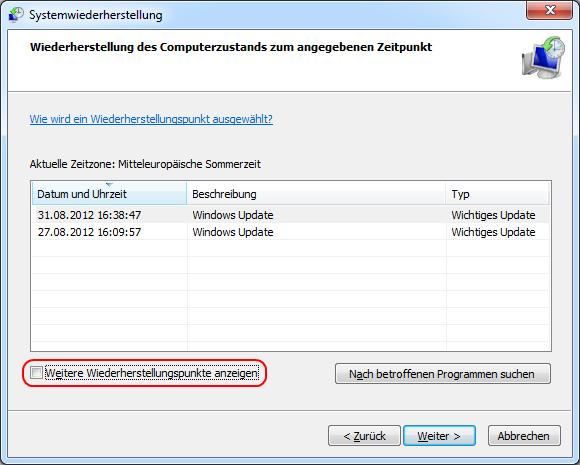 Windows 7 Wiederherstellungspunkte anzeigen