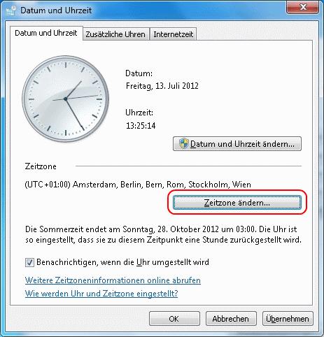 Windows 7 Zeitzone ändern