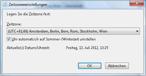 Windows 7 Zeitzoneneinstellungen