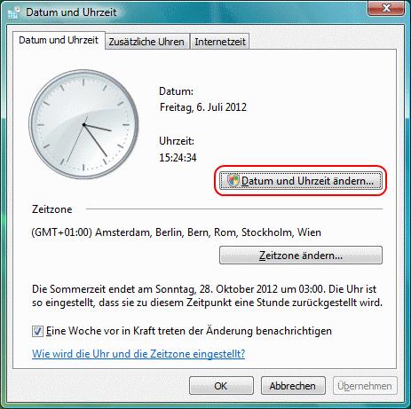 Windows Vista Datum und Uhrzeit ändern