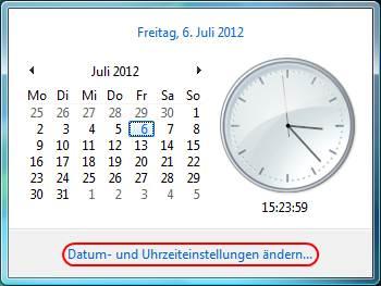 Windows Vista Datum und Uhrzeiteinstellungen ändern