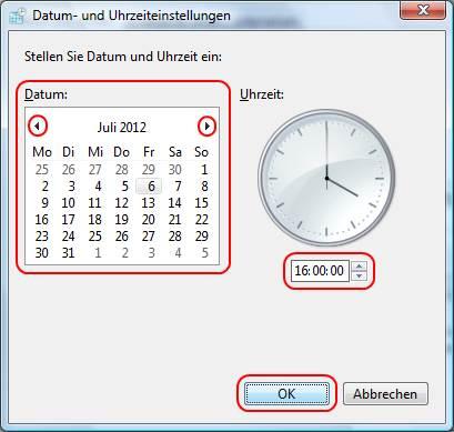 Windows Vista Datum und Uhrzeiteinstellungen