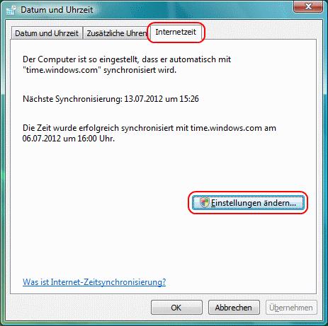 Windows Vista Internetzeit
