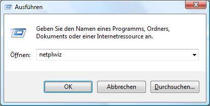 Windows Vista Benutzerkonten aufrufen