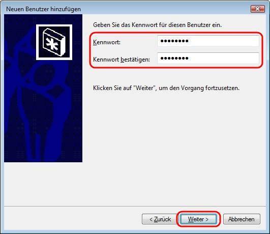 Windows Vista Kennwort für neuen Benutzer vergeben
