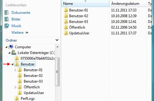 Windows Vista > Ordner Benutzer