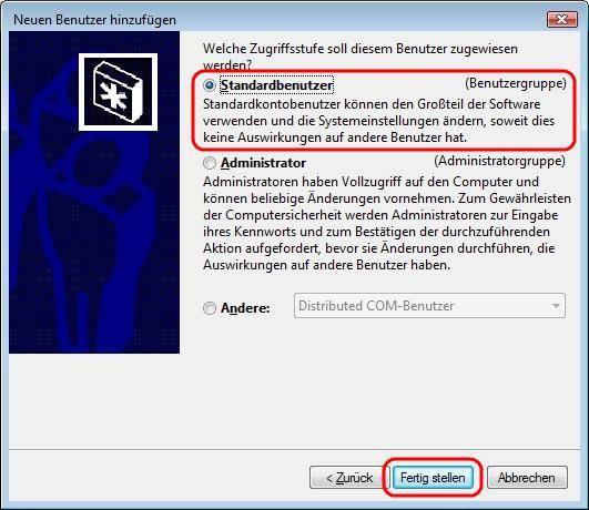 Windows Vista Standardbenutzer anlegen
