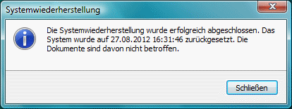Windows Vista Systemwiederherstellung abgeschlossen