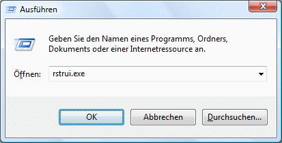 Windows Vista Systemwiederherstellung aufrufen