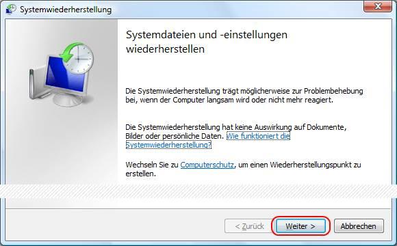 Windows Vista Systemwiederherstellung