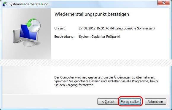 Windows Vista Wiederherstellungspunkt bestätigen