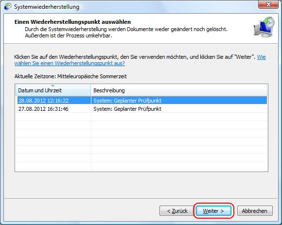 Windows Vista Wiederherstellungspunkt wählen