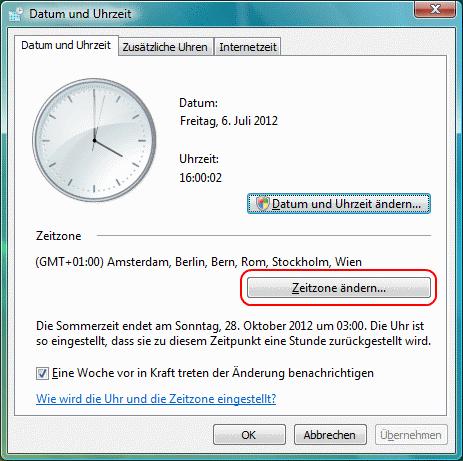 Windows Vista Zeitzone ändern