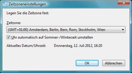 Windows Vista Zeitzoneneinstellungen