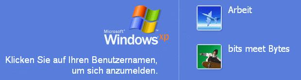 Windows XP Anmeldebildschirm