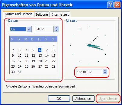 Windows XP Datum und Uhrzeit ändern