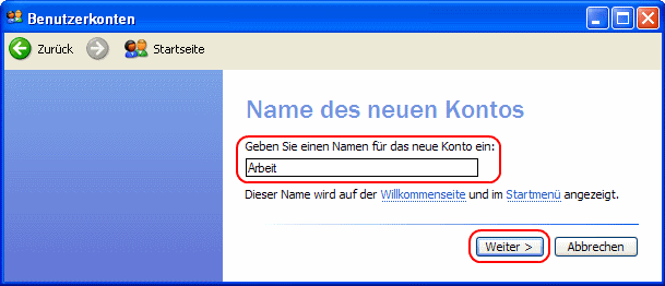Windows XP Name des neuen Kontos